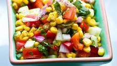 mexican corn salad - was a hit!  edits:  didn't have bell pepper, added avocado, and used balsalmic in addition to cider vinegar and red wine vinegar