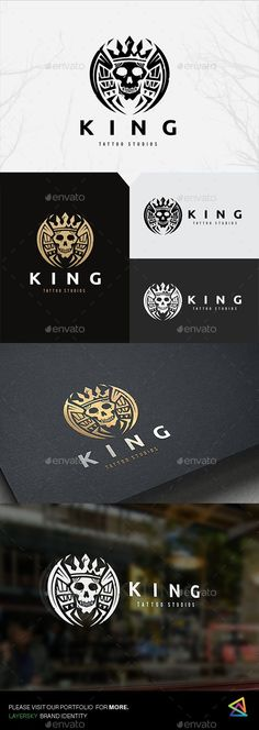 King Skull Tattoo by LayerSky This logo design for all creative business. Consulting, Excellent logo,simple and unique concept. Logo Template FeaturesAI and EPS Skull Logo, Skull Art, Vintage Typography, Typography Logo, Kraken, Logo Inspiration, Fantasy Logo, Logos, Motorcycle Logo
