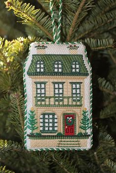 Kate Dickerson's Victorian dollhouse needlepoint ornament stitched by Linda Breman & finished by Sue Parsons