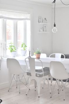 Mixing up white chairs - could mix up my wooden ones (painted white) and buy a few Tabouret white chairs (metal).