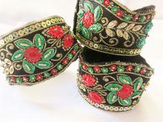 Set of three Velcro closure embroidered bracelets black stone sequin #Handmade #Bangle