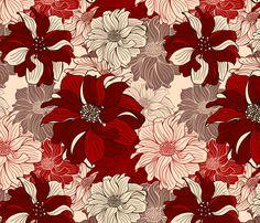 dahlia-cherry fabric by slanapotam on Spoonflower - custom fabric