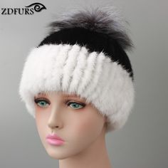 2016 New Style Russian Real Mink Fur Hat for Women Winter Knitted Mink Fur Beanie Cap with Silver Fox Fur Pom Pom Mixed Color #Affiliate
