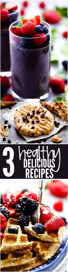 Skinny Protein Waffles, Peanut Butter Chocolate Chip Cookies, plus my Favorite Berry Green Smoothie! 3 DELICIOUS healthy recipes in 1!