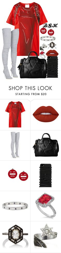 """Moschino."" by dopegenhope ❤ liked on Polyvore featuring Moschino, Lime Crime, Balmain, Cartier, Allurez, Cathy Waterman and Bernard Delettrez"