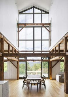 La Firme turns abandoned shed into Quebec home The Barn Light Hardwood Floors, White Oak Floors, Quebec, Mechanical Room, Luz Natural, Natural Light, High Walls, Shed Homes, Modern Barn