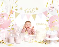 Kindergeburtstag - Papeterie Online Shop Österreich 1st Birthday Cake Topper, 1st Birthday Party Decorations, Birthday Box, Baby 1st Birthday, 1st Birthday Parties, Party Banner, Party Bunting, Party Box, Pink And Gold Decorations