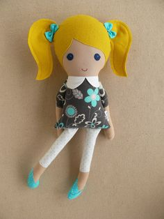 Fabric Doll Rag Doll Blond Haired Girl in Gray and Aqua Floral Dress