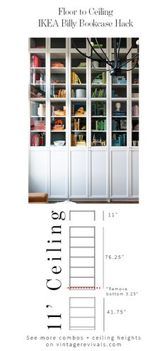 DIY a perfect library with this easy IKEA hack! Floor to ceiling Billy Bookcases that look completely custom without the price tag! Billy Ikea Hack, Ikea Billy Bookcase Hack, Billy Bookcases, Bookshelves, Bookcase Closet, Built In Bookcase, Libreria Billy Ikea, Do It Yourself Quotes, Billy Oxberg