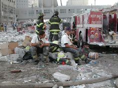 New York City firefighters after 9/11 attacks by USACEpublicaffairs, via Flickr 9-11 #NeverForget #911 #Remembering911 9/11/2001