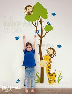 Tree Wall Decal ,safari, kids, Growth Charts ,Giraffe , Monkey Wall decals wall sticker