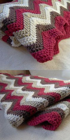 Blanket Free crochet pattern Afghan Ripple Blanket Free crochet pattern Afghan Ripple Blanket Free crochet pattern Perfect throw for an Americana themed room with color as is. Modern Crochet Chevron Blanket with FREE Pattern! Crochet Crafts, Easy Crochet, Crochet Baby, Crochet Projects, Modern Crochet, Crochet Ideas, Crotchet, Crochet Ripple Blanket, Afghan Crochet Patterns