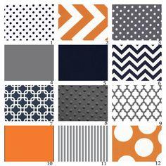 Custom Crib Bedding-3 piece-Navy, Grey and Orange