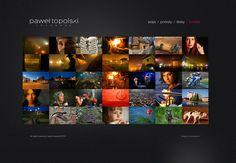strona / portfolio fotografa w minimalistycznym stylu - projekt w zamysle jako tlo dla realizacji - zdjec fotografa. klimatyczne portfolio utrzymane w ciemnej tonacji daje dobre tlo dla barwnej strony glownej prezentujacej najlepsze zdjecia.