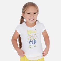 Short sleeved T-shirt for girl White-Yellow Shirts For Girls, Cotton Fabric, Yellow, T Shirt, Kids, How To Wear, Boutique, Fashion, Boys T Shirts
