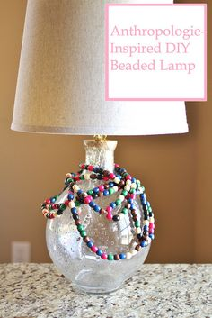 DIY Anthropologie beaded lamp hack - so cool! Crafts For Teens To Make, Crafts To Sell, Diy House Projects, Sell Diy, Dollar Store Crafts, Diy Ideas, Craft Ideas, Party Ideas, Easy Diy Crafts