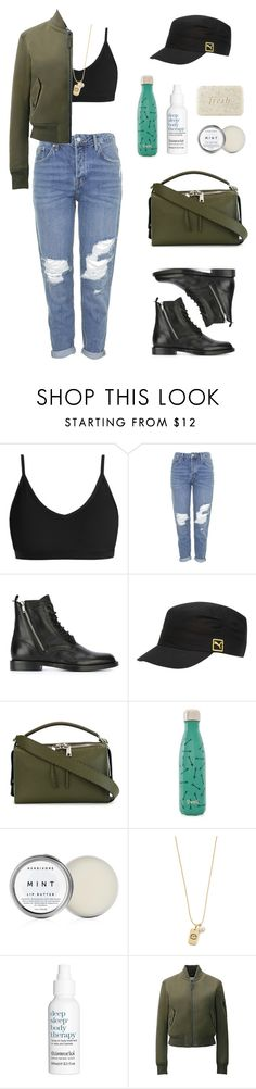 """""""Military Green #3"""" by amlhrs ❤ liked on Polyvore featuring Topshop, Yves Saint Laurent, Puma, Fendi, S'well, Tory Burch, This Works, Uniqlo and Fresh"""