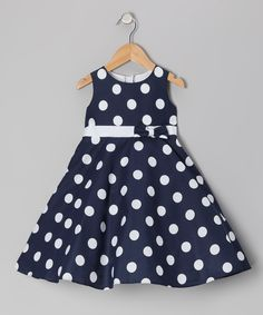 Navy Polka Dot Bow Dress - Infant, Toddler & Girls - Made in the USA