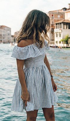 summer outfits Striped Off The Shoulder Dress