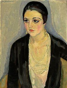 Jan Sluijters - Portret van een dame met oorbellen en halsketting (1928)