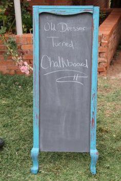 Old dismantled dresser turned into a chalkboard