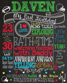 Custom chalkboard sign for first birthday party or photoshoot. Football themed DIY Printable File 16x20