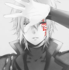 Allen Walker, D.Gray-Man, DGM, Anime boy, manga, red eyes, monochrome. Edit: Removal of most colour, enhanced the red and added a shine. Original found on Zerochan: http://www.zerochan.net/1775061