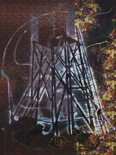 From Museum Ludwig, Sigmar Polke, Watchtower (Hochsitz) Synthetic polymer paints and dry pigment on patterned fabric, 300 × cm Bad Painting, Gerhard Richter, Museum Ludwig, Neo Expressionism, Museum Of Modern Art, Contemporary Paintings, Les Oeuvres, Art History, Pop Art