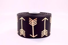 "3"" Black and Gold Foil Arrows Grosgrain Cheer Bow Ribbon"