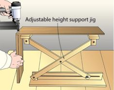This adjustable-height support serves as an extra hand. - - This adjustable-height support serves as an extra hand. It's especially useful for joining two parts where clamps would get in the way. Woodworking Tools For Beginners, Easy Woodworking Projects, Woodworking Jigs, Woodworking Furniture, Diy Wood Projects, Furniture Projects, Popular Woodworking, Woodworking Shop Layout, Woodworking Workshop