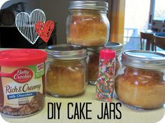 Mini cakes in jars make delicious care packages to soldiers, college students, or any one you want to send a little love to!