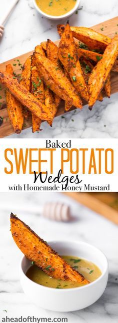 Pair baked sweet potato wedges with warm spices and a homemade honey mustard dipping sauce and serve as an appetizer or side on game day or on any occasion! | aheadofthyme.com #gameday #superbowl #appetizer #vegetarian #sweetpotato #vegetable #baked via @aheadofthyme