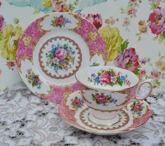 Royal Albert Lady Carlyle Tea Cup, Saucer, Tea Plate Trio, Vintage English…