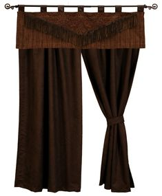 Milady Valance and Chocolate Suede Drapery Set 84 long western window curtains wooded river authorized retailer
