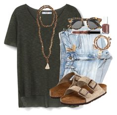 """""""wasssssup"""" by aldenbarbour12 ❤ liked on Polyvore featuring MANGO, American Eagle Outfitters, Jewelry for a Cause, Illesteva, Essie, Birkenstock and Alex and Ani"""