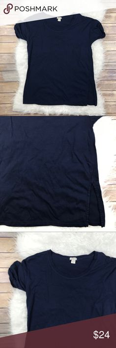 """J. Crew Factory Side Slit Luxe Cotton Tunic Excellent condition J. Crew Factory Side Slit Luxe Cotton Tunic. Size Small. Navy 100% cotton. Roll up sleeves, side vents. Bust 36"""", length 25.5"""". Scoop neck. No trades, offers welcome. J. Crew Factory Tops Tunics"""
