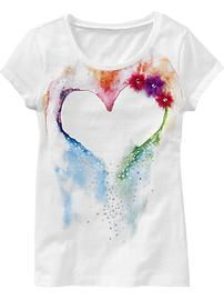 watercolor graphic heart t-shirt