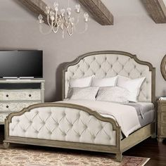california king bed with wood and upholstered headboard - Google Search