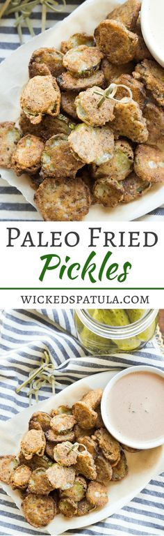 This easy recipe will have you snacking on salty crunchy fried pickles in no time! Paleo On The Go, Paleo Whole 30, How To Eat Paleo, Healthy Snacks, Healthy Eating, Healthy Recipes, Free Recipes, Dinner Healthy, Delicious Recipes