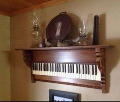 Old piano keyboard re-purposed into gorgeous wall shelf!