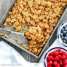 healthy vegan peanut butter granola   gluten, dairy, refined sugar & oil free!!