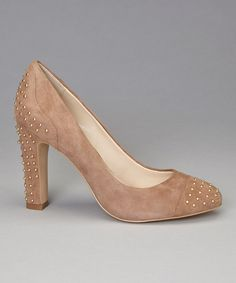 Take a look at this Anne Klein Taupe Suede Studded Qadira Pump on zulily today!