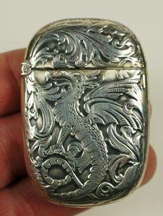 Expceptional Antique Sterling Match Safe Vesta Case with Dragon on Both Sides | eBay