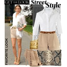 Khaki shorts or khaki pants, sleeveless white blouse, sandals from Averil, brown leather belt, gold earrings from Averil and white Michael Kors watch.