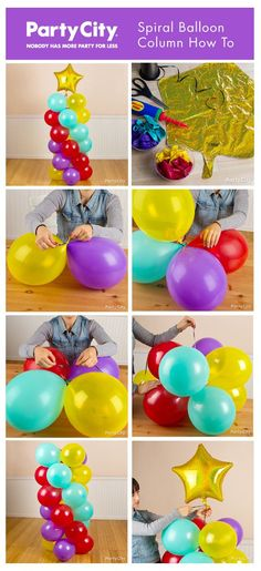 Ideas de decoración para cumpleaños. Cómo hacer una columna en espiral de globos - Birthday Decoration Ideas. Spiral balloon column how to