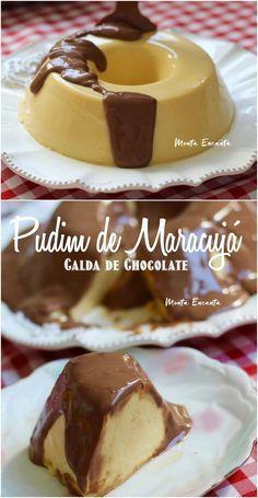 Tem combinação melhor que Pudim de Maracujá com Calda de Chocolate? Tem não senhor! Equilíbrio perfeito entre o azedinho do maracujá e o doce do leite condensado. #pudim #pudimdemaracuja #pudimsemforno #pudimsemovo #pudimdemaracujacomchocoalte #montaencanta