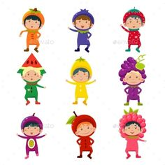 Buy Cute Kids In Fruit And Berry Costumes Vector by Top_Vectors on GraphicRiver. Set of cute children wearing fruit and berry costumes Vector Illustration Fruit Cartoon, Cute Cartoon, Food Cartoon, Fruit Icons, Purple Bird, Orange Party, Fruit Illustration, Kids Education, Cute Kids