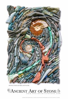 """""""Divine Union of Fire and Water"""" - art by Ancient Art of Stone (Naomi Zettl & Andreas Kunert); Composed of Aventurine, Beach Pebbles, Pipestone, Lapis Lazuli, Ammonite Fossil and a Clear Quartz Crystal Ball"""