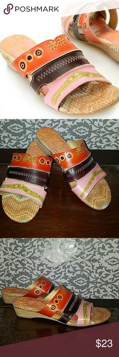 """Elite sandals by Corkys Corkys Elite """"Hawaii"""" Smooth Leather Hand-Painted Slip-on Sandalssize 8 elite by corkys Shoes Sandals"""