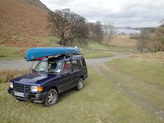 My Canoe on my old Landrover Discovery in the Lake District